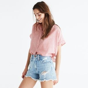 NWT Med. Madewell Central tie back shirt in rose